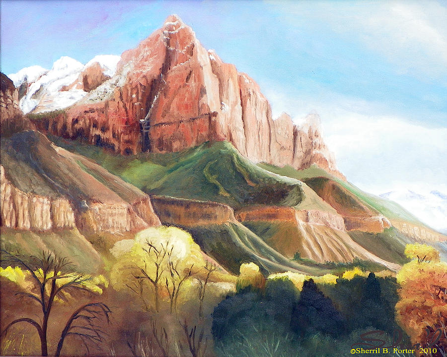 Zion National Park Painting - Snowy Zions Watchman by Sherril Porter