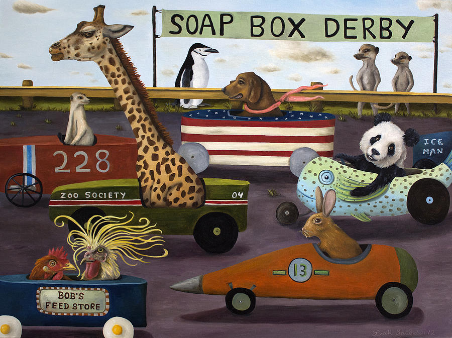 Soap Box Derby Painting - Soap Box Derby by Leah Saulnier The Painting Maniac