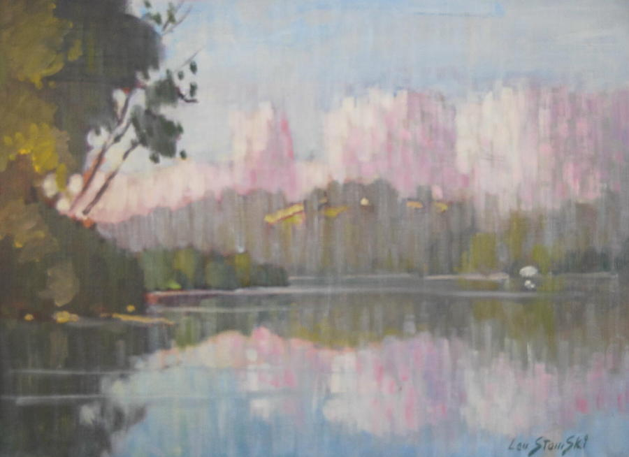 Berkshire Hills Paintings Painting - Soft Reflections by Len Stomski