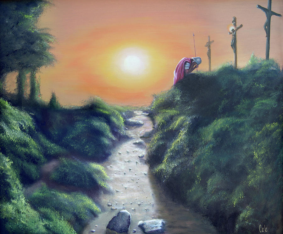 Cross Painting - Soldier At The Cross by Larry Cole