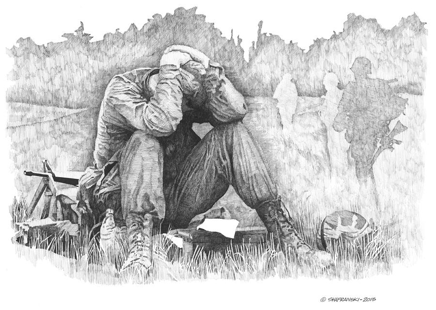 Soldier's Anguish Drawing By Paul Shafranski