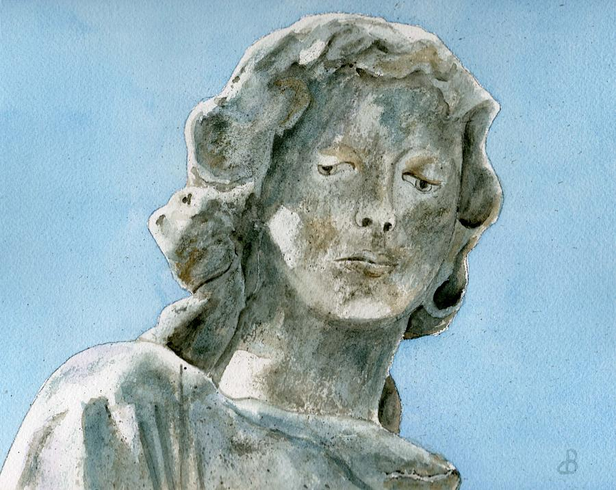 Portrait Watercolor Cemetery Statue Sky Woman Painting - Solitude. A Cemetery Statue by Brenda Owen