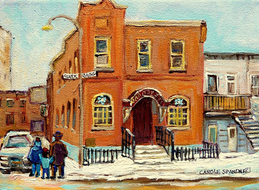 Bagg Street Synagogue Painting - Solomons Temple Montreal Bagg Street Shul by Carole Spandau