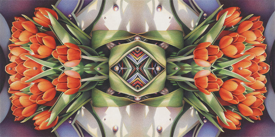 Art Drawing - Soul Plexus - Tulips With Pearl Chakras by Amy S Turner