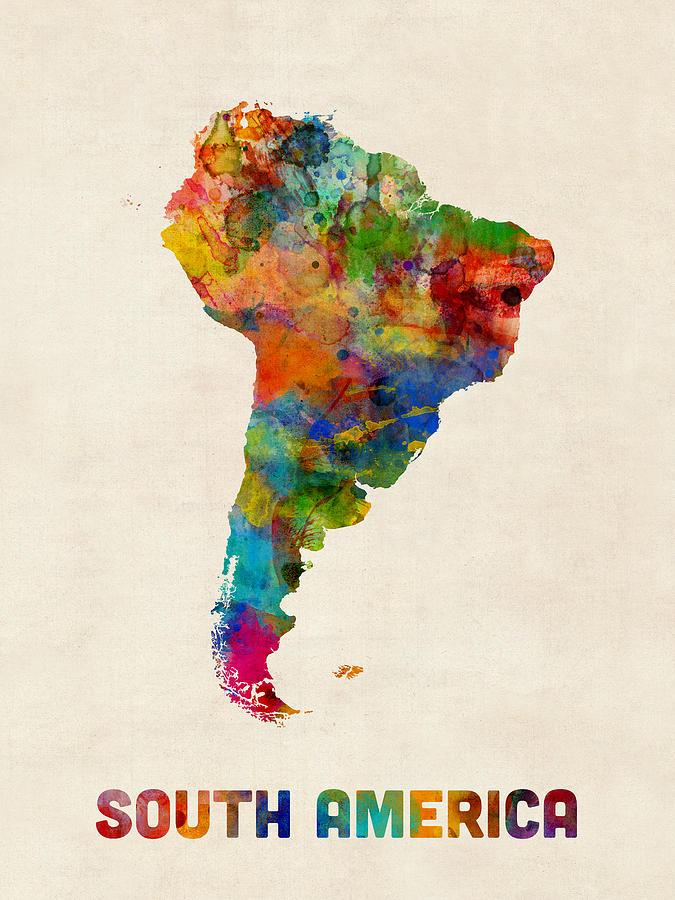 South America Watercolor Map Digital Art By Michael Tompsett