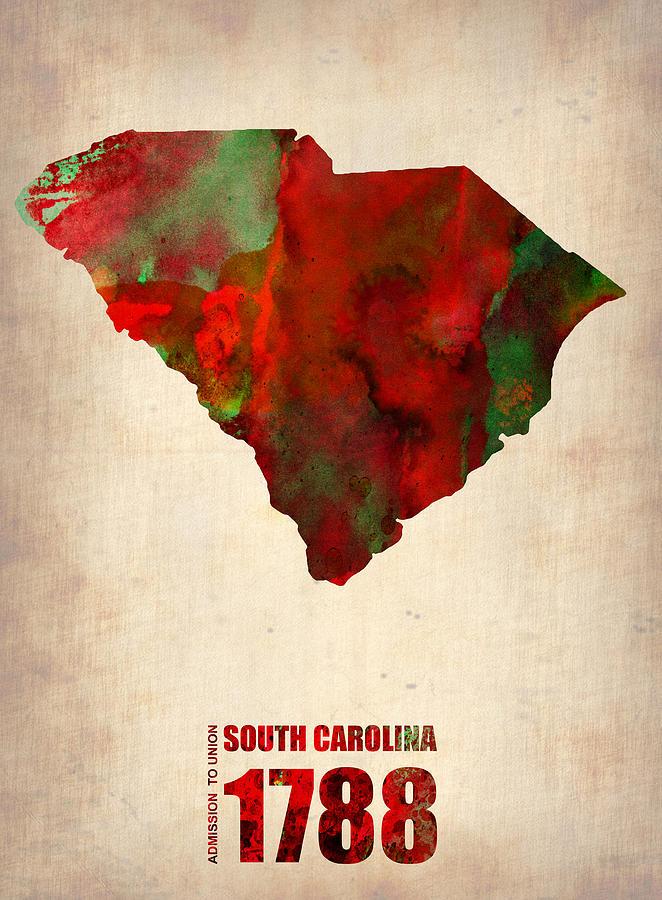 South Carolina Digital Art - South Carolina Watercolor Map by Naxart Studio