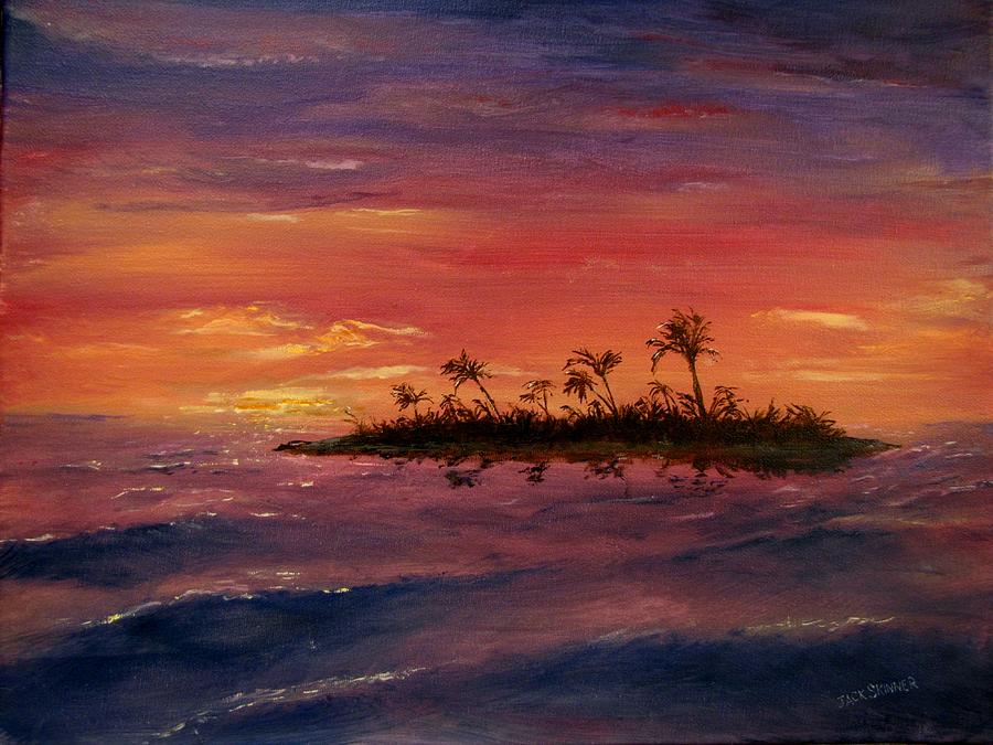 Sunset  Painting - South Pacific Atoll by Jack Skinner