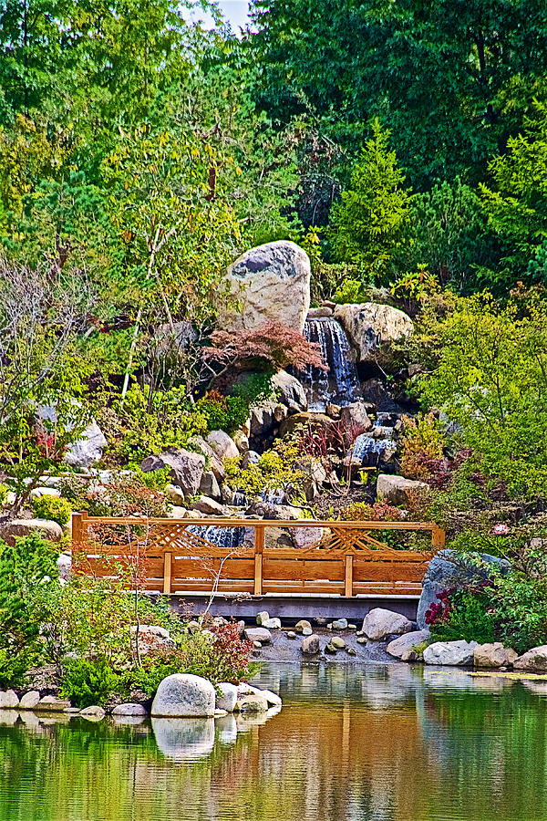 South Waterfall In Japanese Garden In Meijer Gardens In Grand Rapids-michigan Photograph by Ruth ...