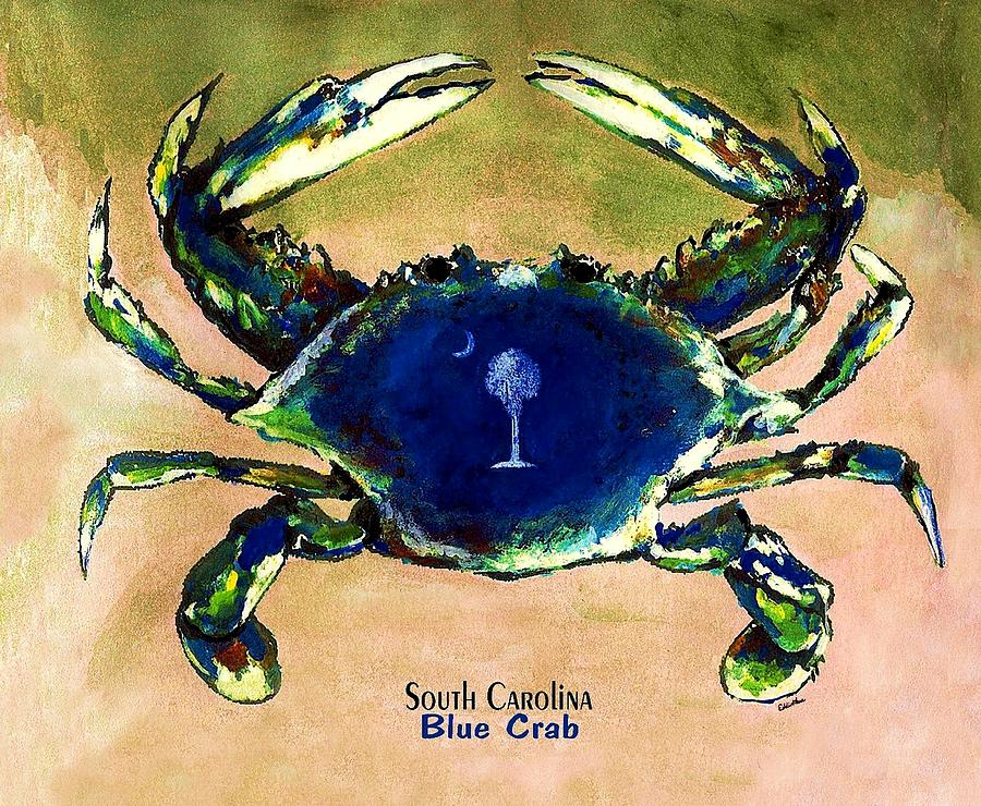 South Carolina Blue Crab With Palmetto And Cresent Moon On Shell Painting - Southcarolina Blue Crab by Eddie Glass