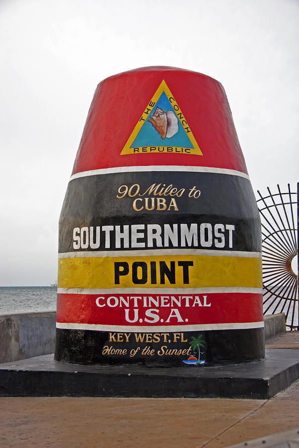 Southernmost Point Photograph - Southermost Point Of U.s.a. Buoy Marker by John Stephens