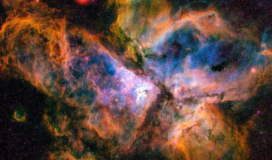 Space Image Carina Nebula Orange Red Blue Photograph by ...