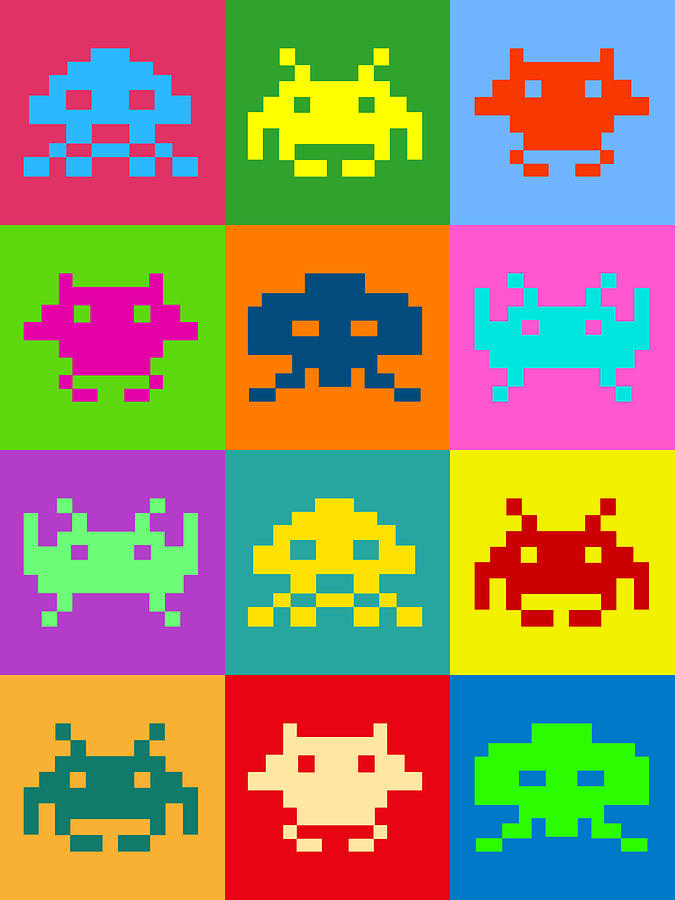 Space Invaders Squares Digital Art