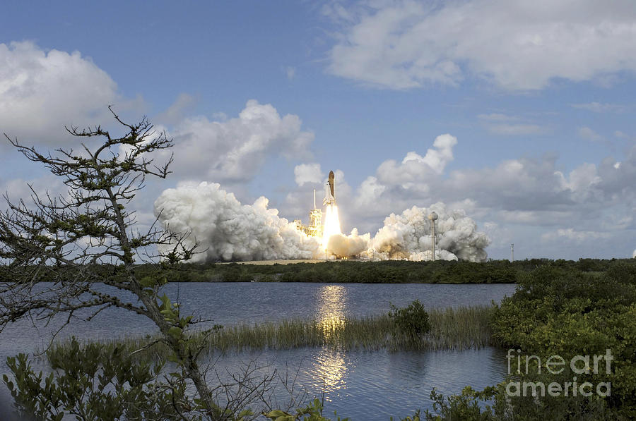 Ascent Photograph - Space Shuttle Discovery Liftoff by Stocktrek Images