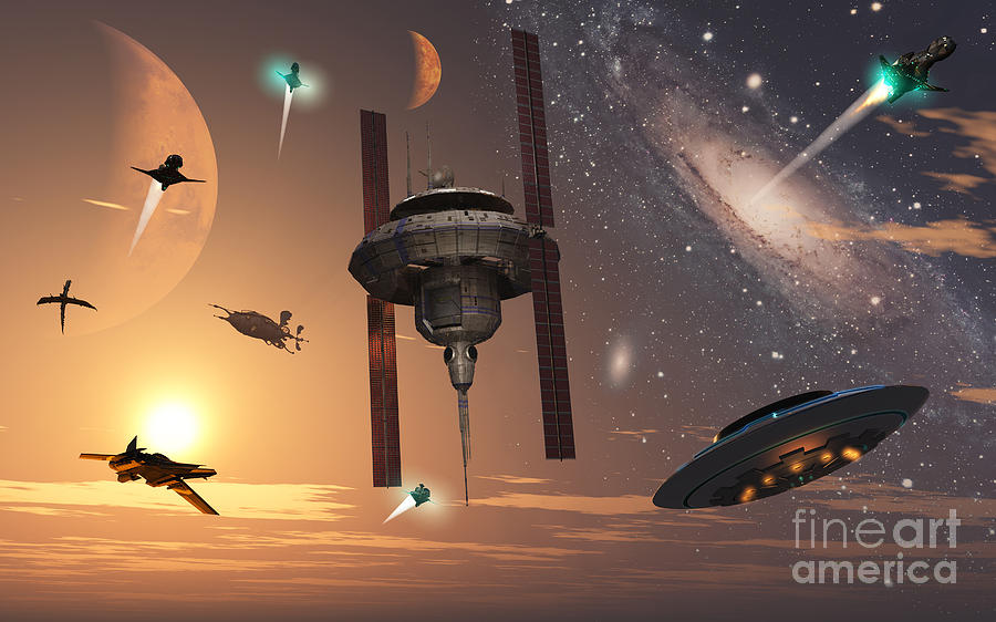 Digitally Generated Image Digital Art - Spaceships Used By Different Alien by Mark Stevenson
