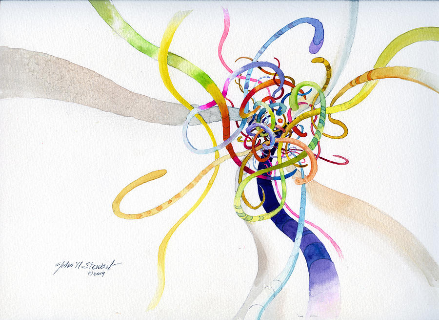 Watercolor Painting - Spaghetti Abstract by John Norman Stewart