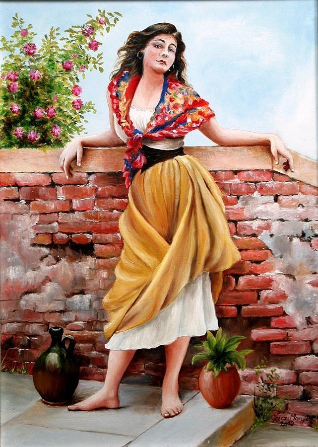 spanish gypsy girl painting by margaret greczi