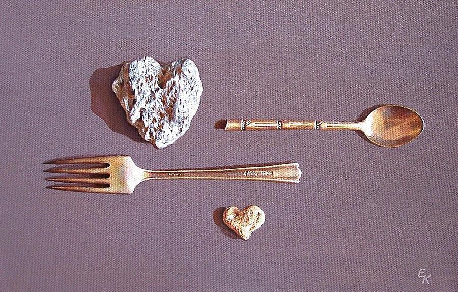 Heart Painting - Spat by Elena Kolotusha