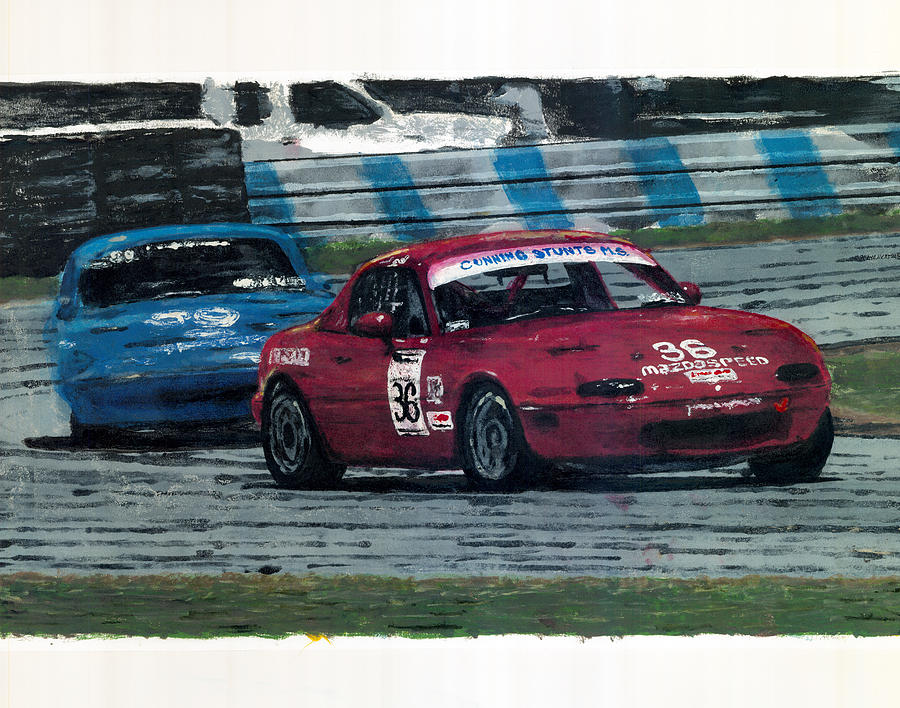 Scca Painting - Spec Miata 1 by James Haas