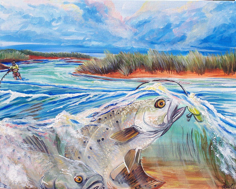 Speckled Trout Painting - Speckled Trout by Jenn Cunningham