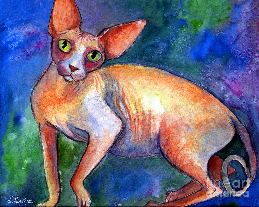 Sphynx Cat Painting Painting - Sphynx Cat 4 Painting by Svetlana Novikova