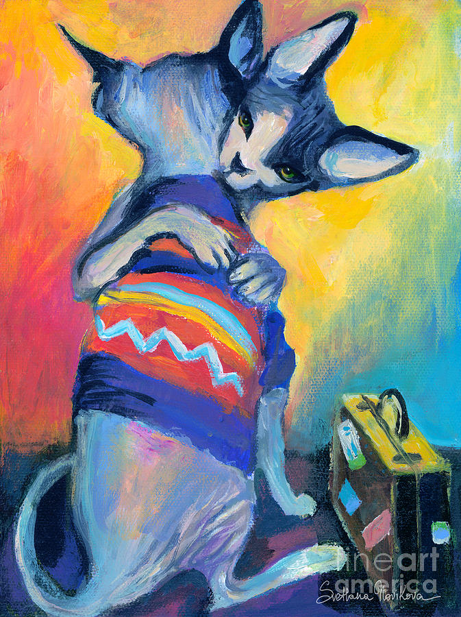 Sphynx Cat Picture Painting - Sphynx Cats Friends by Svetlana Novikova