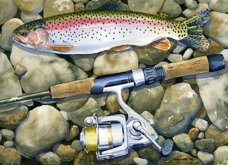 Fish Painting - Spin Trout by Mark Jennings