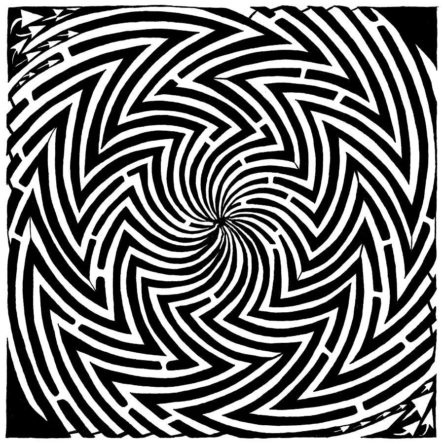 Spinning Drawing - Spinning Optical Illusion Maze by Yonatan Frimer Maze Artist