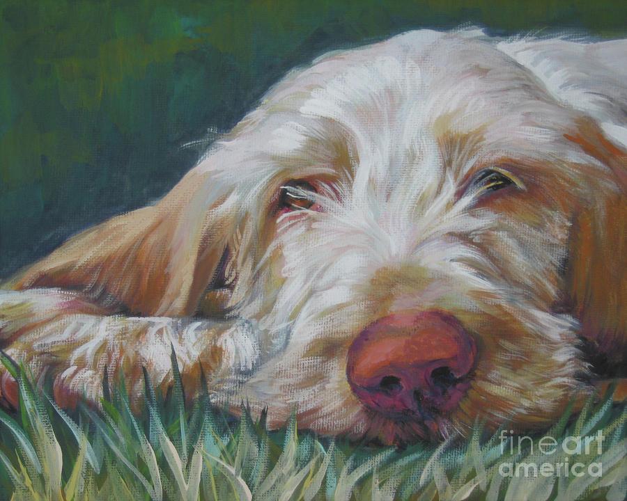 Spinone Italiano Orange White Spinoni Italian Pointer Dog Painting - Spinone Italiano Orange by Lee Ann Shepard