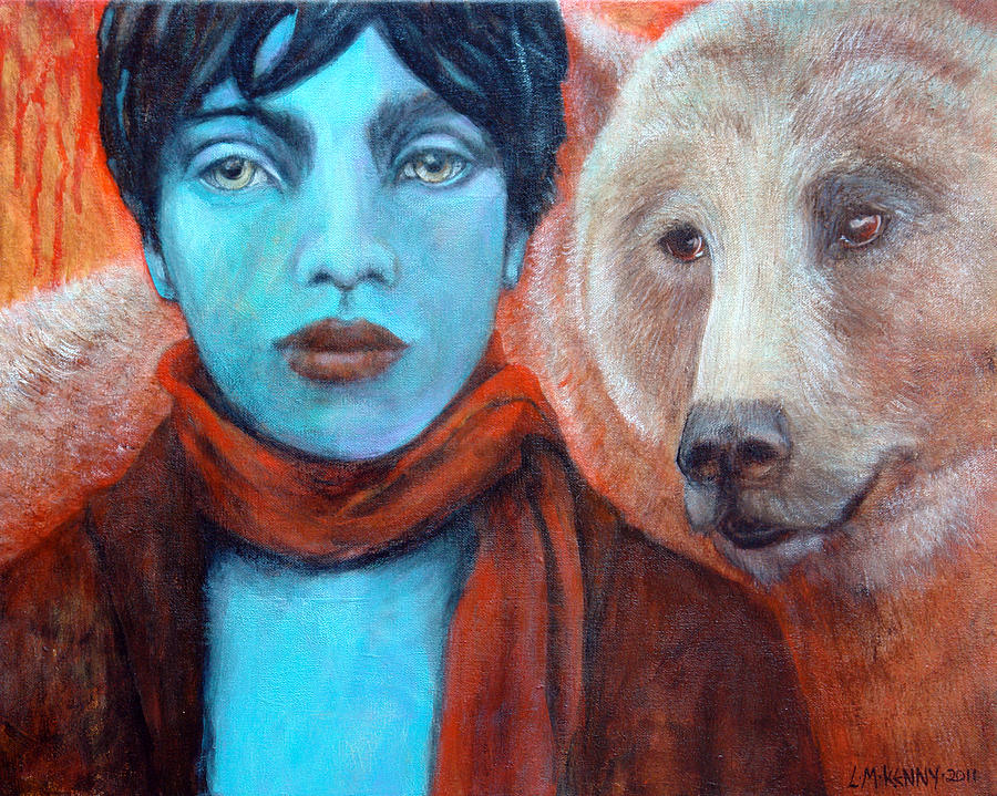 Grizzly Bear Painting - Spirit Helper by Lorraine Marian Kenny