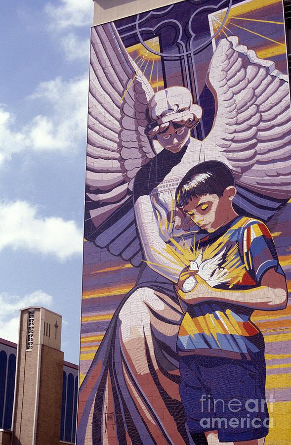 Texas Photograph - Spirit Of Healing Mural San Antonio Texas by John  Mitchell