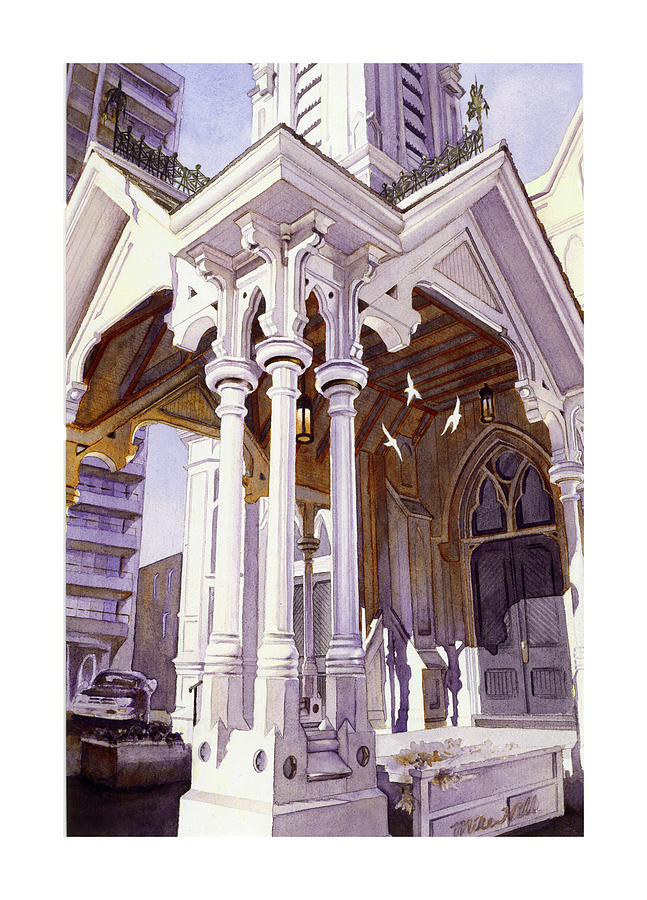 Holy Spirit Church Pillars Three God Jesus Old Church Michael Harrison Christmas Songs Music Doors Painting - Spirits Of The Old Church by Mike Hill