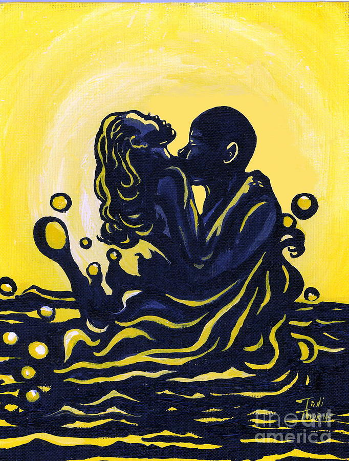 Lovers Painting Painting - Splash by Toni  Thorne