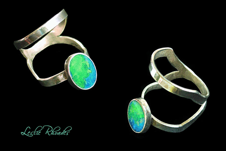 Leslie Rhoades Jewelry - Split Silver Black Opal Ring by Leslie Rhoades