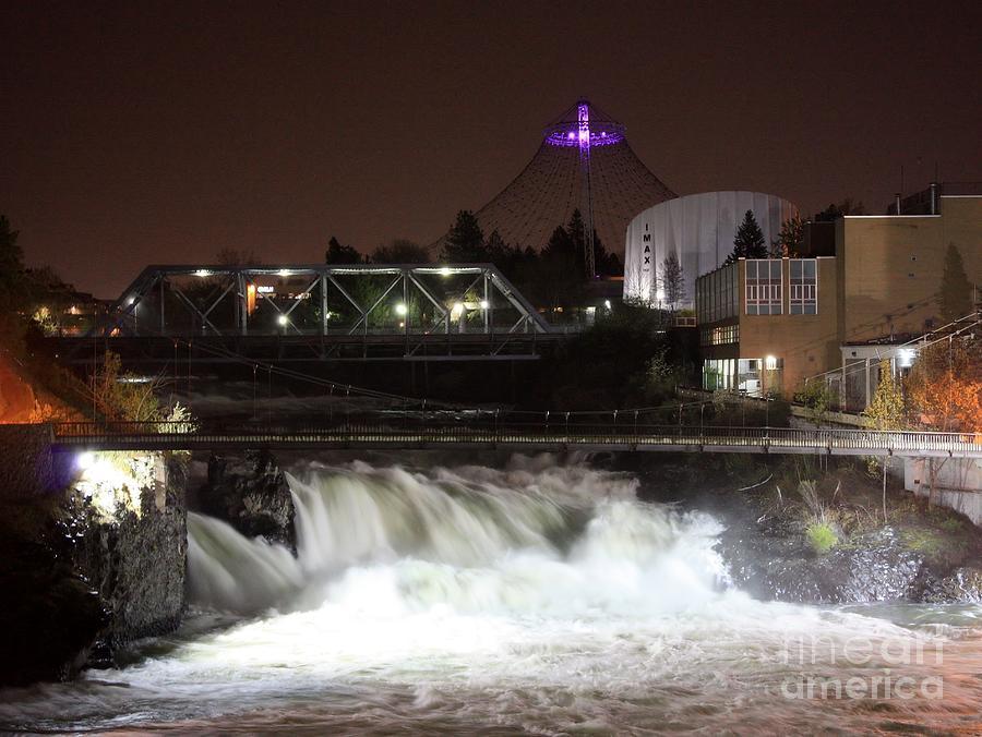 Spokane Falls Night Scene Photograph