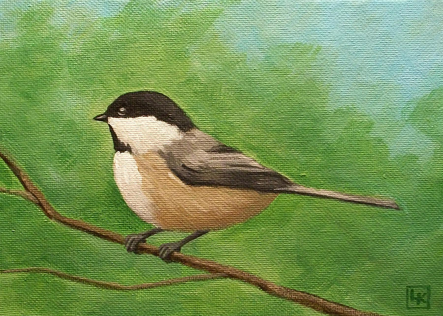Spring Painting - Spring Chickadee by Lisa Kretchman