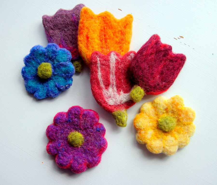 Crafts Tapestry - Textile - Spring Flower Ornaments by Kimberly Simon