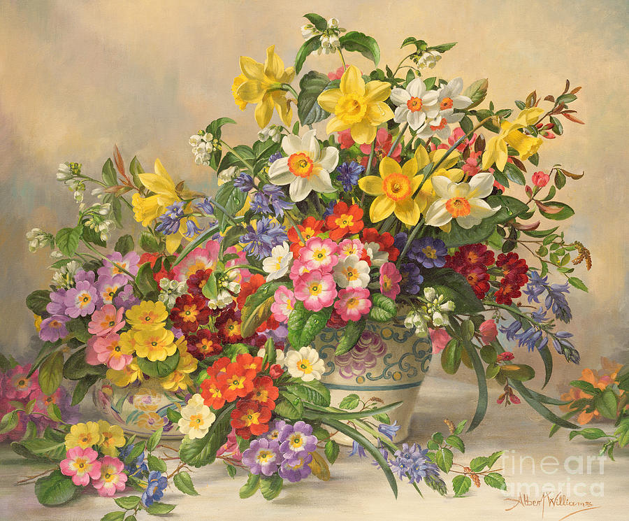 Primula; Daffodil; Primula; Narcissi; Spring Flowers; Flower; Flowers; Pool Pottery Painting - Spring Flowers And Poole Pottery by Albert Williams