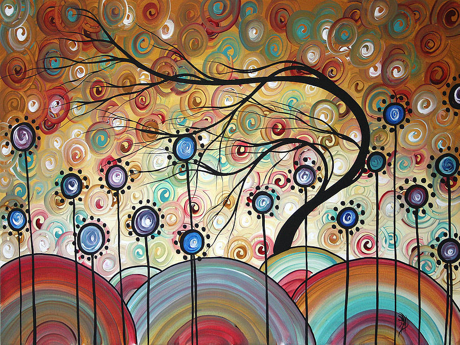 Abstract Painting - Spring Flowers Original Painting Madart by Megan Duncanson