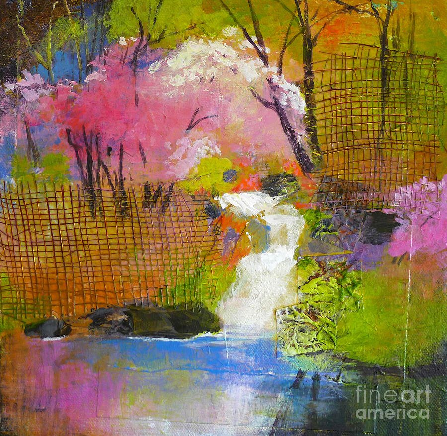 Spring garden painting by melody cleary for Spring canvas paintings