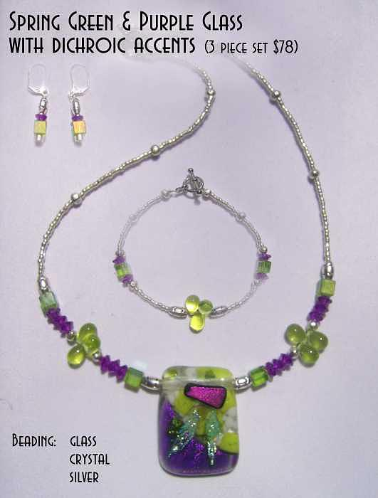Fused Glass Glass Art - Spring Green And Purple Glass With Magenta Dichroic Accent by Michelle Lake