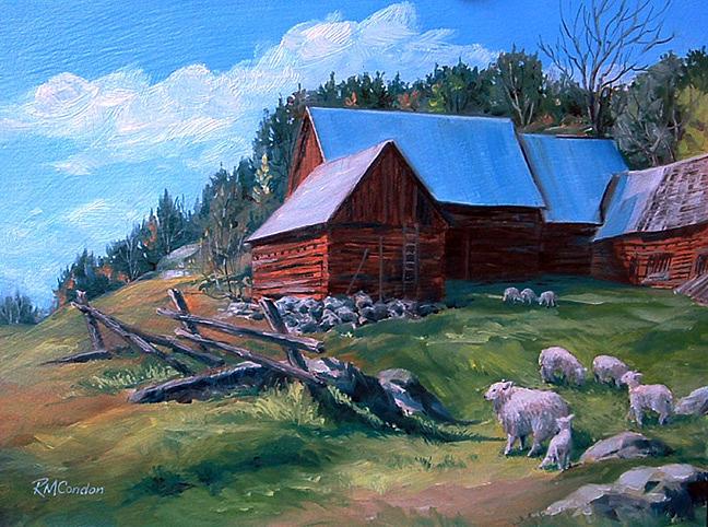 Barns Painting - Spring Morning Madawaska by RoseMarie Condon