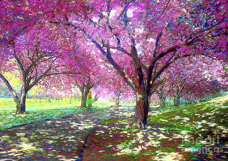 Spring Rhapsody, Happiness And Cherry Blossom Trees Painting