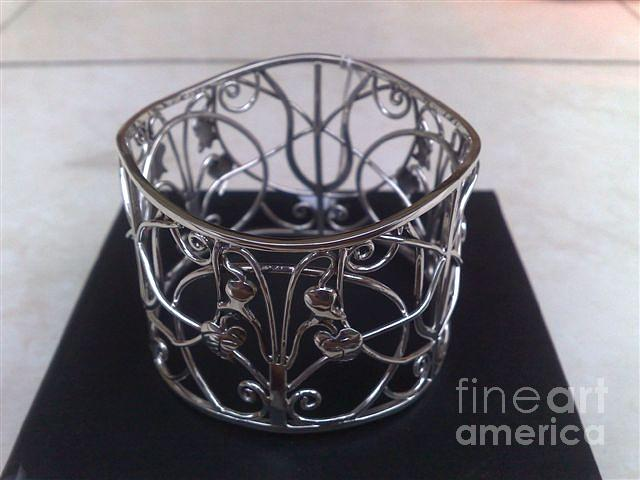 Ss Bangle With Flower And Wire Works Jewelry