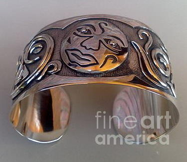 Sterling Silver Earring Jewelry - Ss Cuff With Moon Face by fmnjewel - Fernando Situmeang