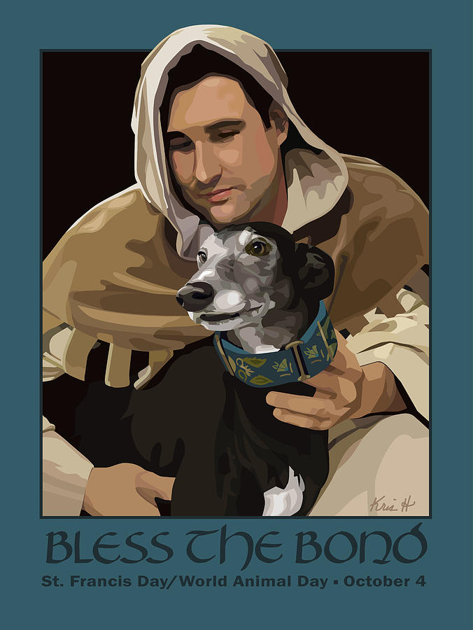 Dogs Digital Art - St. Francis With Greyhound by Kris Hackleman