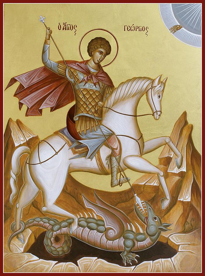 Icon Painting - St George by Julia Bridget Hayes
