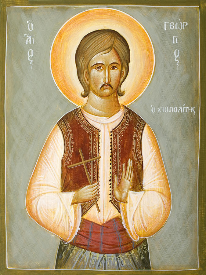 Saint Painting - St George The New Martyr Of Chios by Julia Bridget Hayes