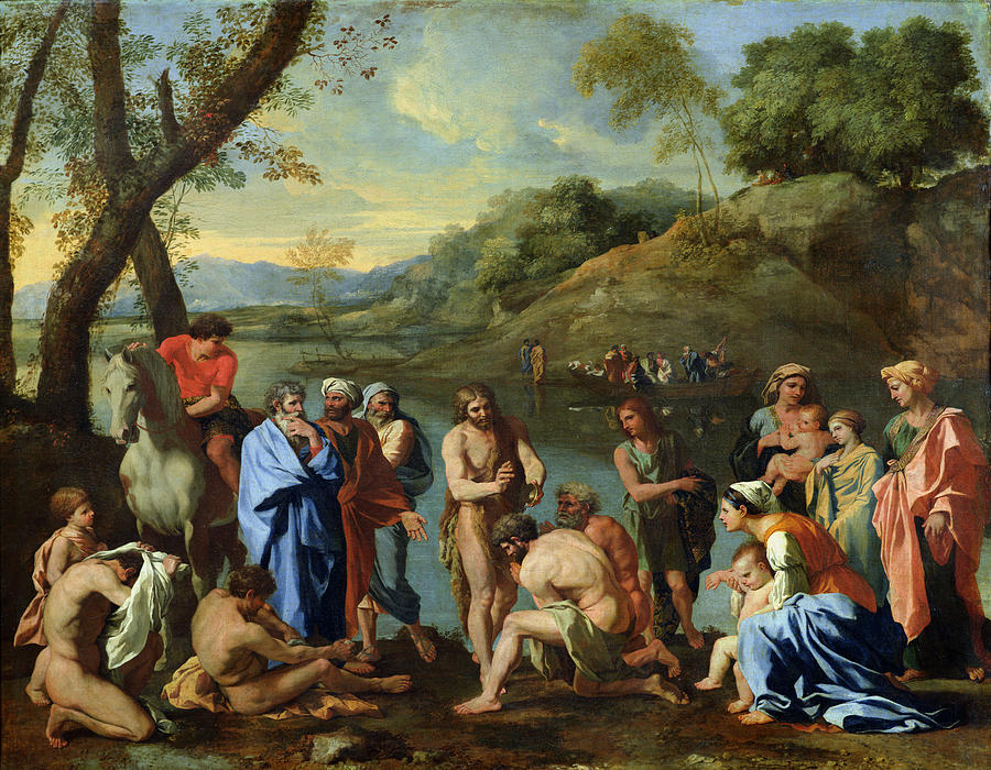 John Painting - St John Baptising The People by Nicolas Poussin