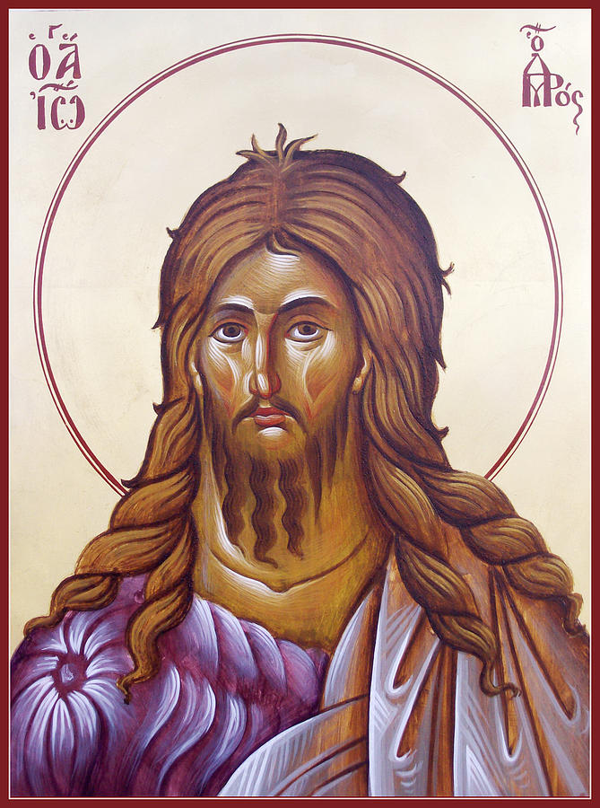 Icon Painting - St John The Forerunner And Baptist by Julia Bridget Hayes