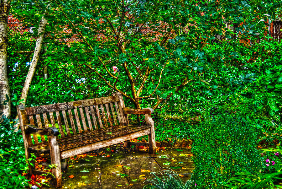 St. Luke In The Field Garden Bench Photograph